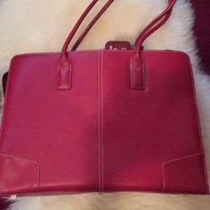 Red leather HP computer bag